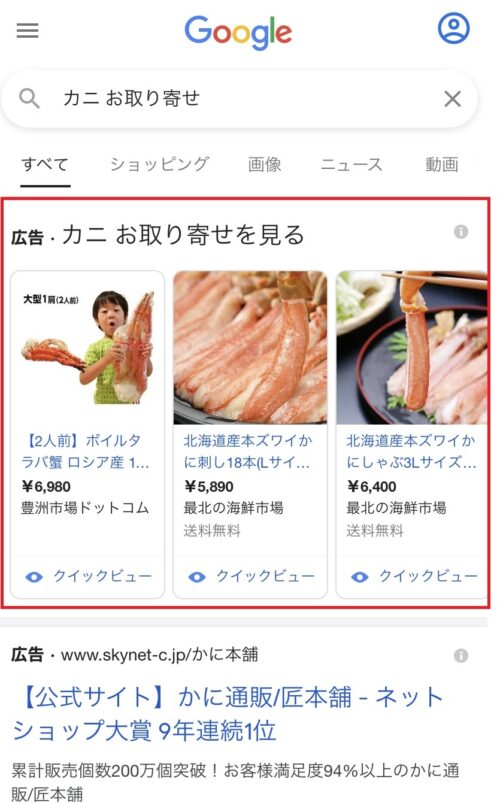 Google ショッピング広告の掲載サンプル画像